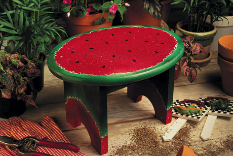 Sweet Painted Summer Watermelon Stool