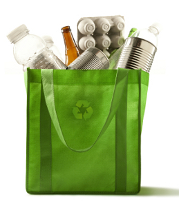 Green recycling bag with old containers