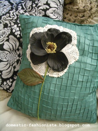 Black Flower Pillow