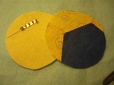 Fabric Scrap and Button Brooch 1