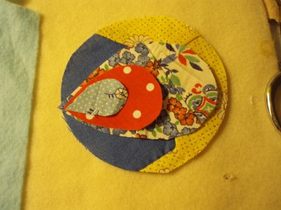 Fabric Scrap and Button Brooch 5