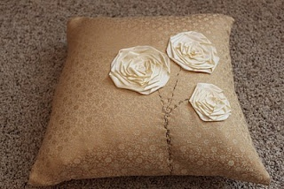 Ribbon Flower Pillow Cover