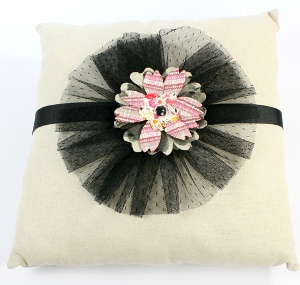 Soft Tulle Rosette Pillow
