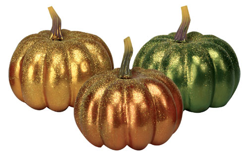 Trio of Glitter Painted Pumpkins