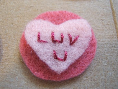 Embroidery of Felt Conversation Heart