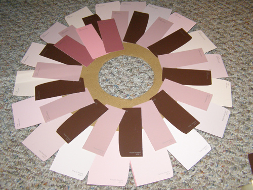 Layering Paint Chips for Wreath