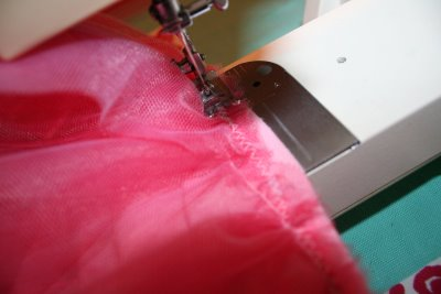 Sewing Tulle to Shirt 2