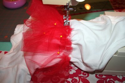 Sewing Tulle to Onesie