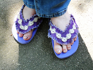 Denim and Lace Flip Flops