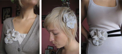 Flower Custer Pin Headband and belt