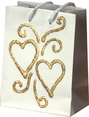 textured heart wedding gift bag