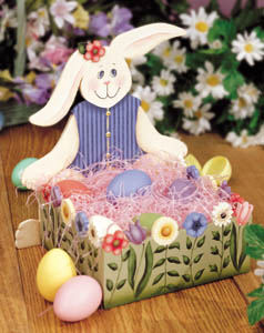 Garden Bunny Wood Easter Box