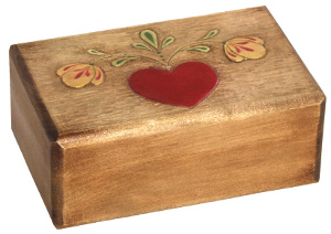 Woodcarved Heart Box