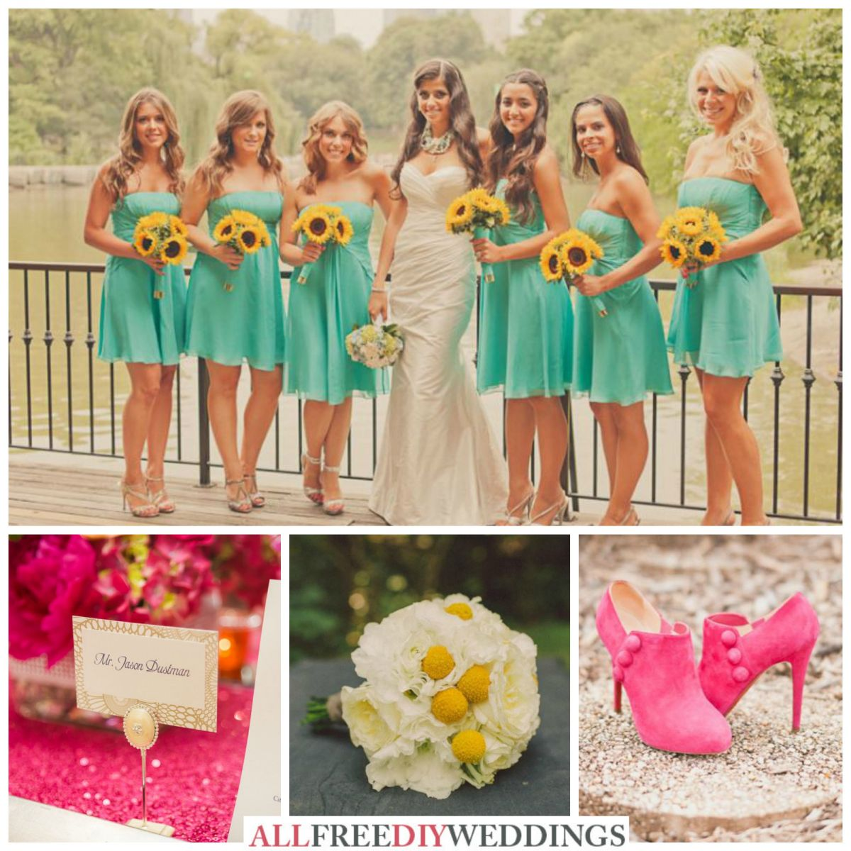 What Colors Go With Hot Pink wedding color schemes: aqua, yellow, and hot pink