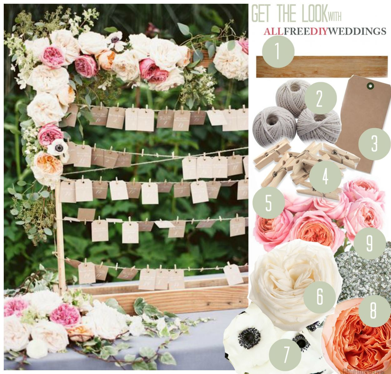 Bohemian Blossoms Escort Card Display AllFreeDIYWeddingscom