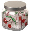 Cherry Painted Glass Jar